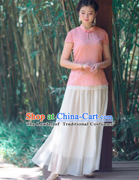 Asian China National Costume Pink Embroidered Hanfu Qipao Shirts Upper Outer Garment, Traditional Chinese Tang Suit Cheongsam Blouse Clothing for Women