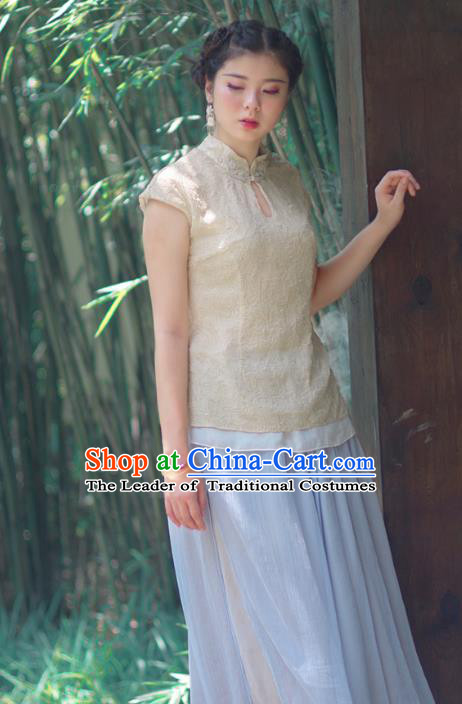 Asian China National Costume Beige Embroidered Hanfu Qipao Shirts Upper Outer Garment, Traditional Chinese Tang Suit Cheongsam Blouse Clothing for Women