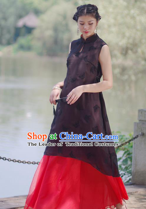 Asian China National Costume Slant Opening Black Silk Hanfu Qipao Dress, Traditional Chinese Tang Suit Cheongsam Clothing for Women