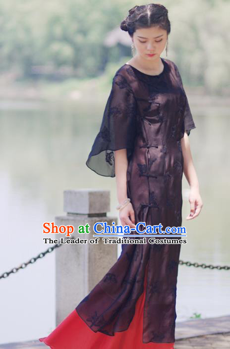 Asian China National Costume Slant Opening Black Silk Hanfu Qipao Dress, Traditional Chinese Tang Suit Plated Buttons Cheongsam Clothing for Women