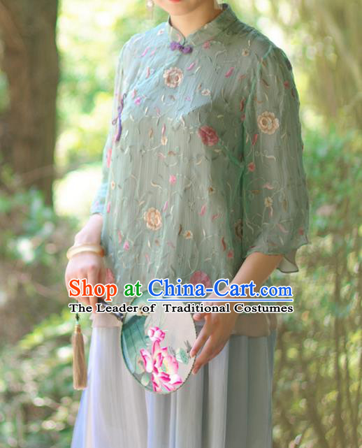 Asian China National Costume Green Silk Hanfu Embroidered Qipao Shirts Upper Outer Garment, Traditional Chinese Tang Suit Cheongsam Blouse Clothing for Women