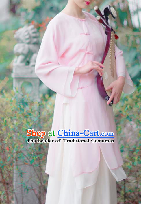 Asian China National Costume Pink Silk Hanfu Qipao Dress, Traditional Chinese Tang Suit Cheongsam Clothing for Women