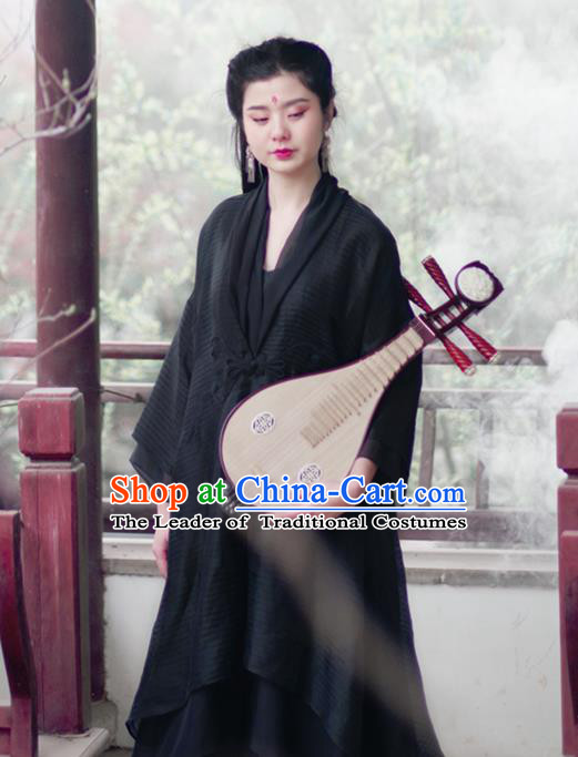 Asian China National Costume Black Silk Hanfu Robe, Traditional Chinese Tang Suit Cheongsam Dress Clothing for Women