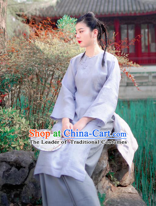 Asian China National Costume Blue Linen Silk Hanfu Qipao Dress, Traditional Chinese Tang Suit Cheongsam Clothing for Women