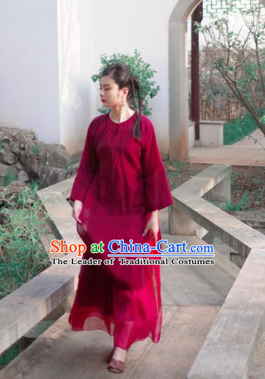 Asian China National Costume Red Linen Hanfu Qipao Dress, Traditional Chinese Tang Suit Cheongsam Clothing for Women
