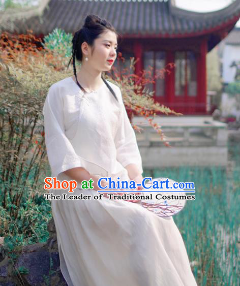 Asian China National Costume White Linen Hanfu Qipao Shirts Upper Outer Garment, Traditional Chinese Tang Suit Cheongsam Blouse for Women