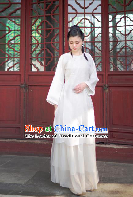 Asian China National Costume White Linen Hanfu Qipao Dress, Traditional Chinese Tang Suit Cheongsam Blouse Clothing for Women