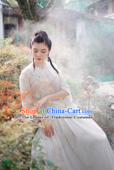 Asian China National Costume Beige Silk Hanfu Qipao Shirts Upper Outer Garment, Traditional Chinese Tang Suit Cheongsam Blouse for Women