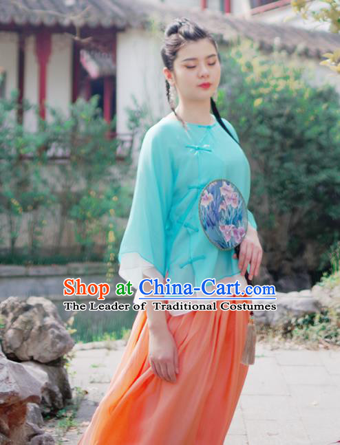 Asian China National Costume Green Silk Hanfu Qipao Shirts Upper Outer Garment, Traditional Chinese Tang Suit Cheongsam Blouse for Women