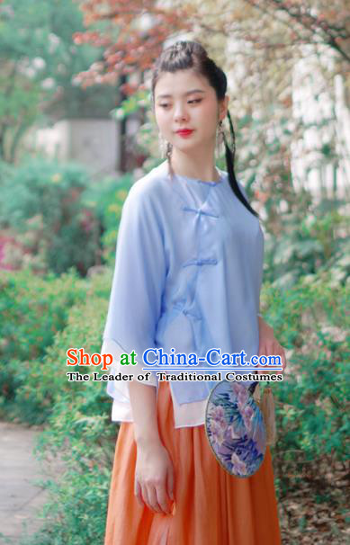 Asian China National Costume Blue Silk Hanfu Qipao Shirts Upper Outer Garment, Traditional Chinese Tang Suit Cheongsam Blouse for Women