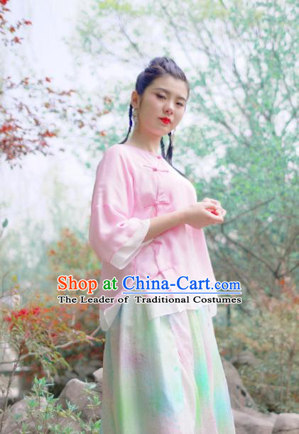 Asian China National Costume Pink Silk Hanfu Qipao Shirts Upper Outer Garment, Traditional Chinese Tang Suit Cheongsam Blouse for Women