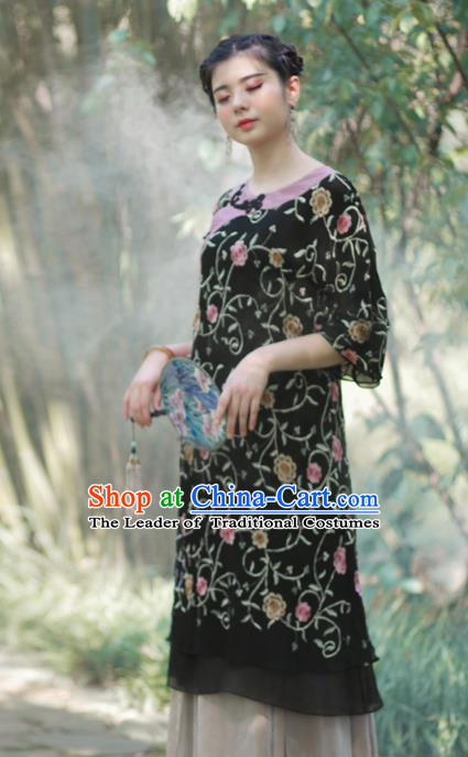 Asian China National Costume Hanfu Black Silk Embroidered Qipao Dress, Traditional Chinese Tang Suit Cheongsam Clothing for Women