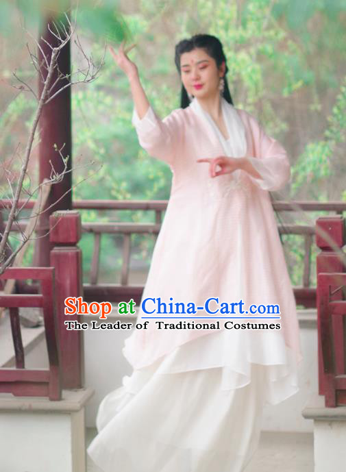 Asian China National Costume Pink Silk Hanfu Robe, Traditional Chinese Tang Suit Cheongsam Shirts Upper Outer Garment Clothing for Women