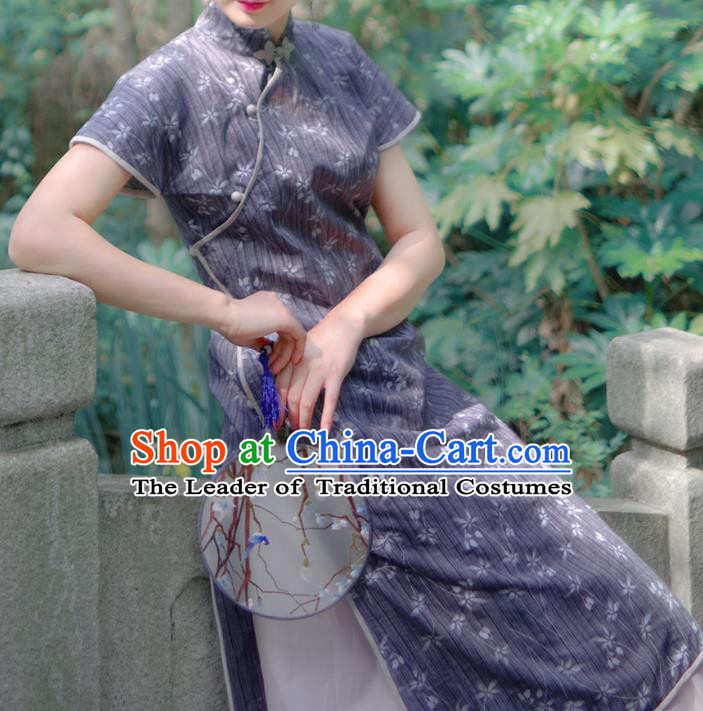 Asian China National Costume Hanfu Printing Linen Qipao Dress, Traditional Chinese Tang Suit Cheongsam Clothing for Women