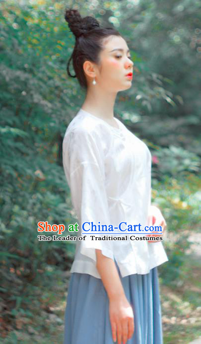 Asian China National Costume Hanfu Plated Buttons Qipao White Satin Shirts Upper Outer Garment, Traditional Chinese Tang Suit Cheongsam Blouse for Women