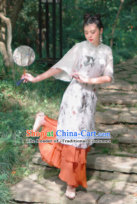 Asian China National Costume Hanfu Plated Buttons Printing Qipao Dress, Traditional Chinese Tang Suit Cheongsam Clothing for Women