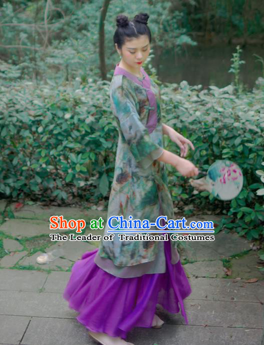 Asian China National Costume Hanfu Plated Buttons Printing Green Silk Qipao Dress, Traditional Chinese Tang Suit Cheongsam Clothing for Women