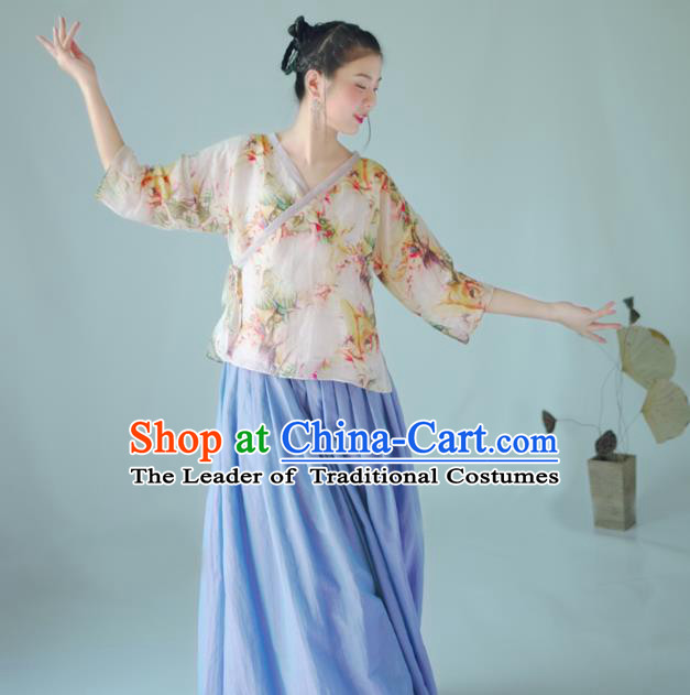 Asian China National Costume Hanfu Slant Opening Printing Flowers Silk Qipao Blouse, Traditional Chinese Tang Suit Cheongsam Shirts Clothing for Women