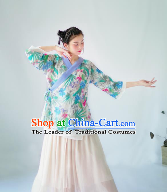Asian China National Costume Hanfu Slant Opening Printing Green Flowers Silk Qipao Blouse, Traditional Chinese Tang Suit Cheongsam Shirts Clothing for Women