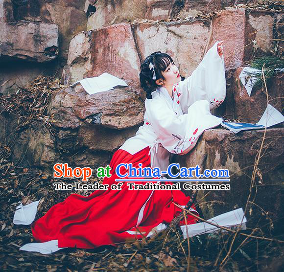 Asian China Ming Dynasty Young Lady Embroidered Blouse and Skirt, Traditional Ancient Chinese Princess Elegant Hanfu Clothing for Women