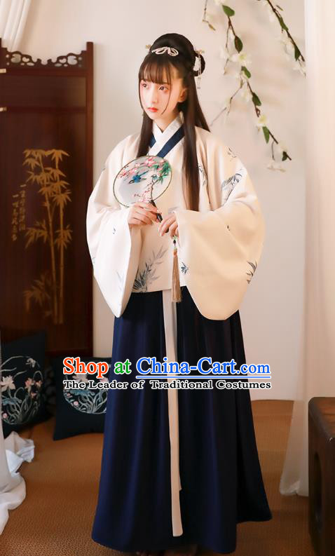Asian China Ming Dynasty Palace Lady Printing Bamboo Costume, Traditional Ancient Chinese Princess Elegant Hanfu Clothing for Women