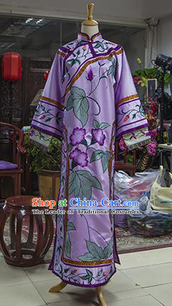 Traditional Ancient Chinese Imperial Consort Costume, Chinese Qing Dynasty Manchu Lady Purple Dress Clothing for Women