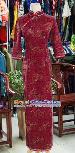 Traditional Ancient Chinese Republic of China Cheongsam, Asian Chinese Chirpaur Printing Dark Red Qipao Dress Clothing for Women