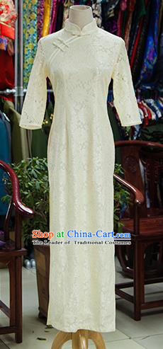 Traditional Ancient Chinese Republic of China White Cheongsam, Asian Chinese Chirpaur Printing Silk Qipao Dress Clothing for Women