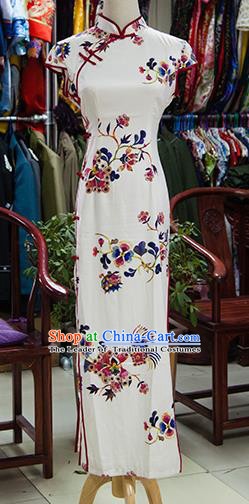 Traditional Ancient Chinese Republic of China White Cheongsam, Asian Chinese Chirpaur Printing Flower Qipao Dress Clothing for Women