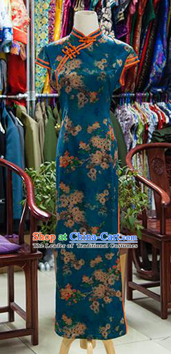 Traditional Ancient Chinese Republic of China Printing Cheongsam, Asian Chinese Chirpaur Peacock Green Qipao Dress Clothing for Women