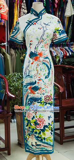 Traditional Ancient Chinese Republic of China Printing Peony Phoenix Cheongsam, Asian Chinese Chirpaur Qipao Dress Clothing for Women