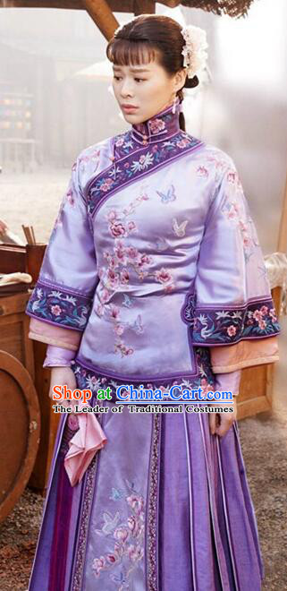 Traditional Ancient Chinese Republic of China Nobility Mistress Purple Costume, Asian Chinese Late Qing Dynasty Embroidered Xiuhe Suit Clothing for Women
