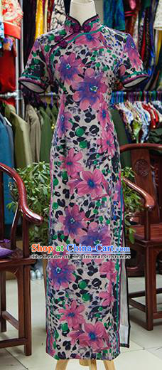 Traditional Ancient Chinese Republic of China Printing Flowers Purple Cheongsam, Asian Chinese Chirpaur Qipao Dress Clothing for Women