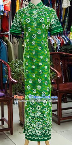 Traditional Ancient Chinese Republic of China Printing Green Cheongsam, Asian Chinese Chirpaur Qipao Dress Clothing for Women
