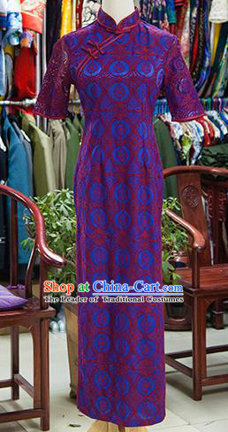 Traditional Ancient Chinese Republic of China Printing Purple Cheongsam, Asian Chinese Chirpaur Qipao Dress Clothing for Women