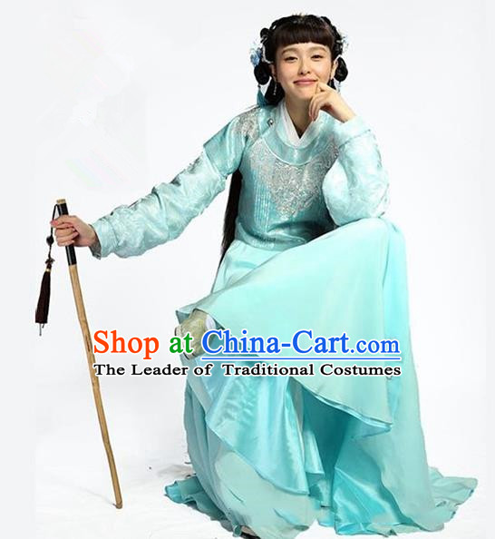 Traditional Ancient Chinese Young Lady Costume, Elegant Hanfu Clothing Chinese Ming Dynasty Swordswoman Embroidered Clothing for Women