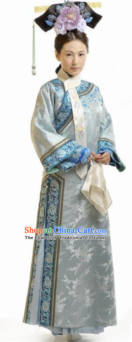 Traditional Ancient Chinese Imperial Consort Blue Costume, Chinese Qing Dynasty Manchu Palace Lady Embroidered Clothing for Women