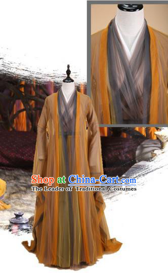 Traditional Ancient Chinese Imperial Consort Fairy Costume, Elegant Hanfu Clothing Chinese Tang Dynasty Empress Brown Clothing for Women