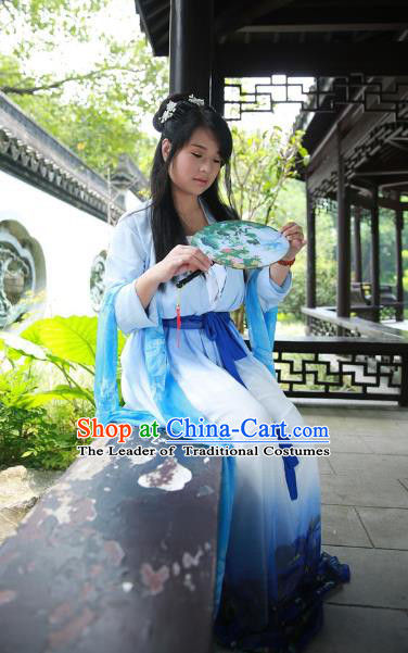 Traditional Ancient Chinese Imperial Consort Costume, Asian China Tang Dynasty Imperial Empress Printing Blue Dress Clothing for Women