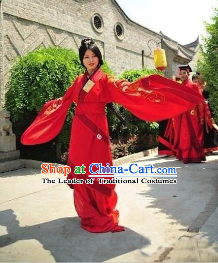 Traditional Chinese Ancient Palace Lady Wedding Costume Complete Set, Asian China Han Dynasty Princess Red Curve Bottom Clothing for Women