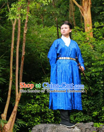 Traditional Ancient Chinese Imperial Bodyguard Hanfu Costume, Asian China Ming Dynasty Swordsman Blue Robe Clothing for Men