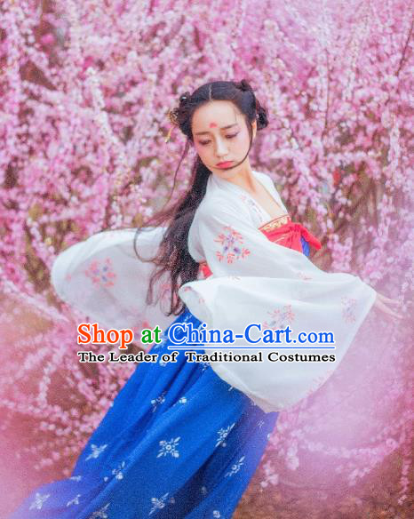 Traditional Chinese Ancient Costume Palace Lady Slip Skirt, Asian China Tang Dynasty Imperial Princess Hanfu Blue Dress Clothing for Women