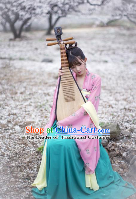 Traditional Chinese Ancient Costume Palace Lady Blue Slip Skirt, Asian China Tang Dynasty Imperial Princess Hanfu Dress Clothing for Women