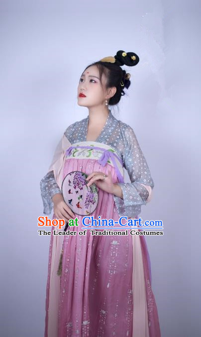 Traditional Chinese Ancient Costume Palace Lady Pink Embroidered Slip Skirt, Asian China Tang Dynasty Imperial Princess Hanfu Dress Clothing for Women