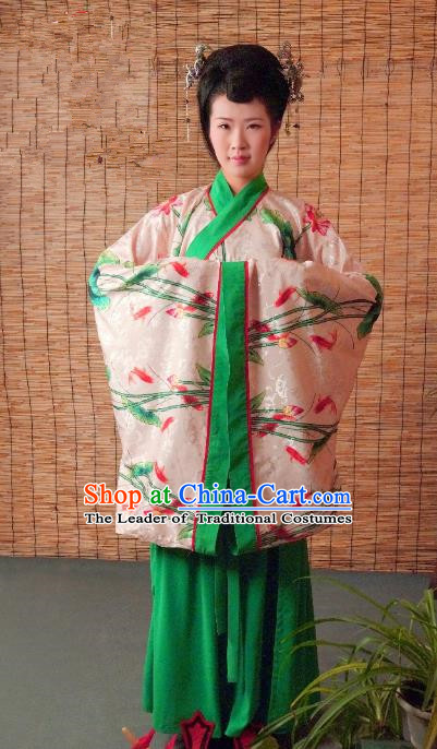 Traditional Chinese Ancient Young Lady Printing Costume Green Curve Bottom, Asian China Han Dynasty Imperial Concubine Hanfu Clothing for Women