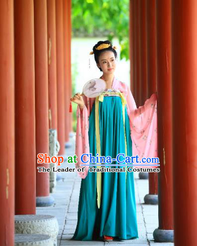Traditional Chinese Ancient Palace Lady Blue Slip Skirt Costume, Asian China Tang Dynasty Imperial Concubine Hanfu Dress Clothing for Women