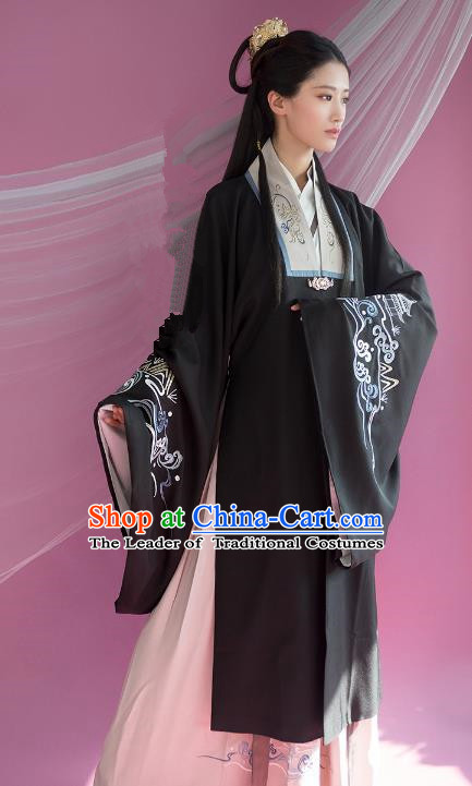 Traditional Ancient Chinese Palace Lady Hanfu Costume Black Embroidered Cloak, Asian China Ming Dynasty Princess Cardigan Clothing for Women