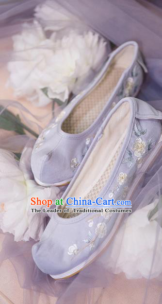 Traditional Ancient Chinese Palace Lady Hanfu Embroidered Purple Shoes Bow Shoes, Asian China Princess Blood Stained Shoes for Women