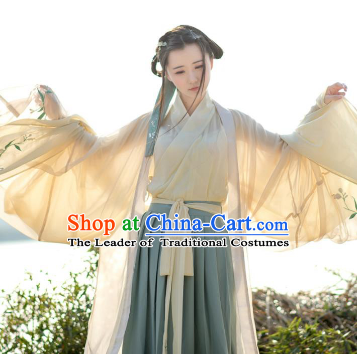 Traditional Ancient Chinese Palace Lady Hanfu Costume Embroidered Cardigan Complete Set, Asian China Han Dynasty Princess Dress Clothing for Women