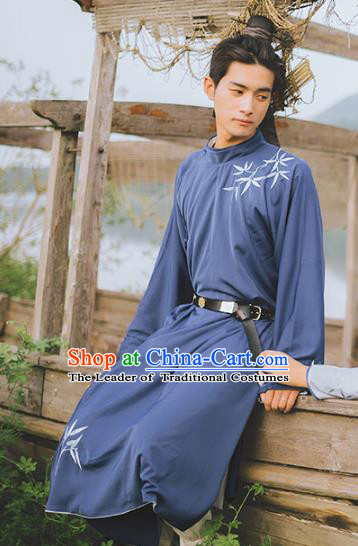 Traditional Ancient Chinese Swordsman Hanfu Costume Embroidered Long Robe, Asian China Han Dynasty Clothing for Men